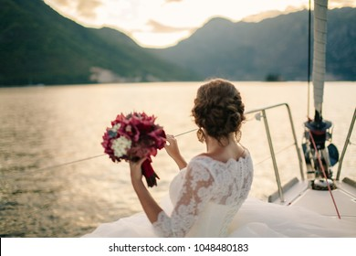 wedding bride travel on yacht. honeymoon in Europe. Montenegro.
