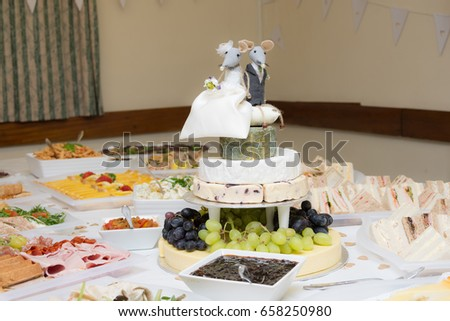 Wedding Buffet Wedding Cake Made Cheese Stock Photo Edit Now