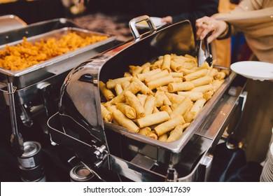 wedding buffet serving ethnic food