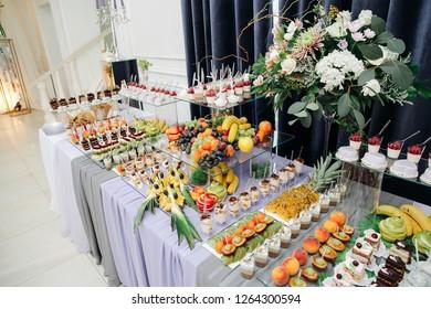 wedding cake and buffet