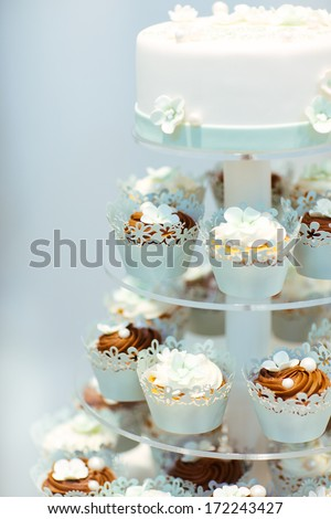 Wedding Cake Cupcakes Brown Cream Blue Stock Photo Edit Now