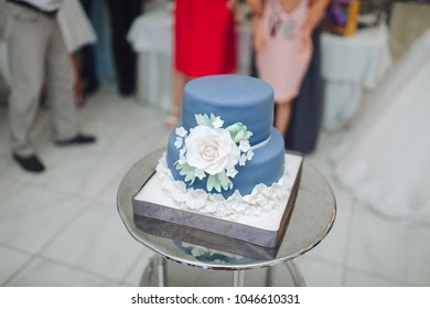 Wedding cake with decor. Flowers on the cake.