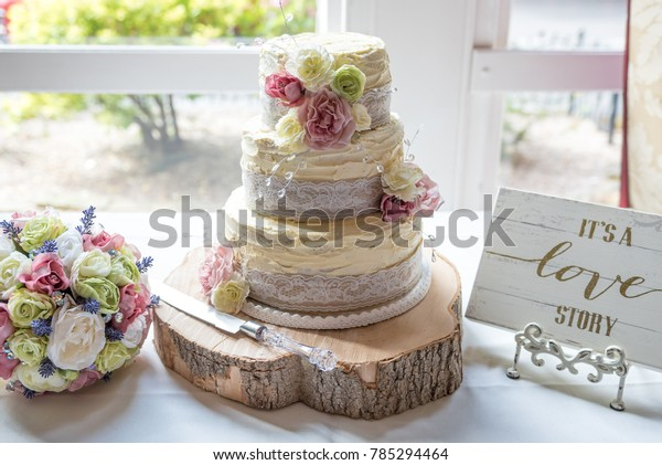Wedding Cake Decorated Flowers Lace Ribbon Stock Photo Edit Now 785294464