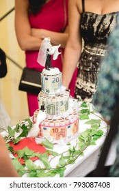 Wedding cake made with lot of euro banknotes