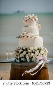 wedding cake setup on the beach
