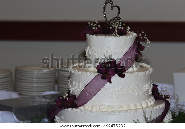 Wedding Cake Shot Closeup Maroon Ribbon Stock Photo Edit
