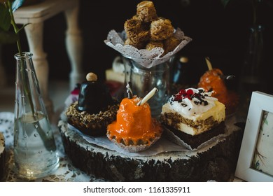 Wedding cake. Sweet beautiful food, dessert on the table. Flower decoration for event. Sugar delicious decorated cakes for celebration marriage party.