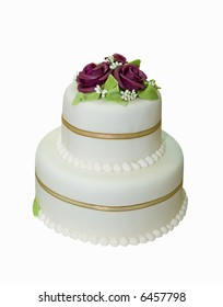 Wedding cake with white icing decorated with marzipan roses