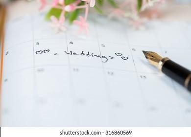 wedding calendar on table