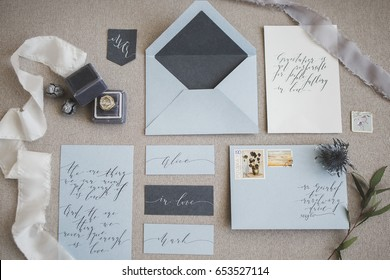 Wedding calligraphy and decor. Wedding invitations, envelope, lace, cards