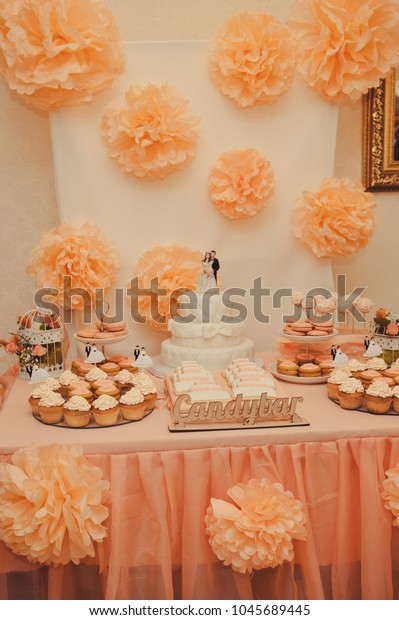 Admirable Wedding Candy Bar Orange Color Festive Stock Photo Edit Now Download Free Architecture Designs Rallybritishbridgeorg