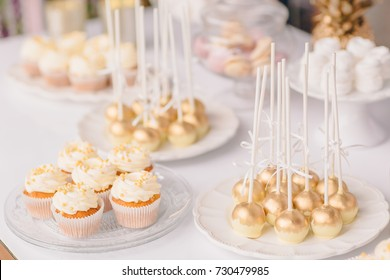 Wedding candy bar table. Cakes and other sweets