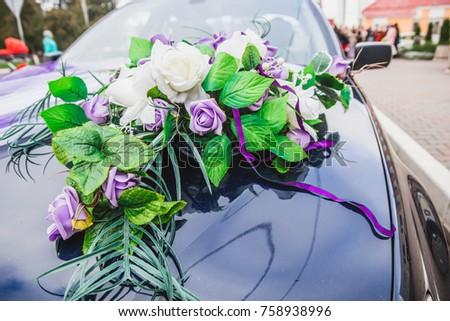 Wedding Car Decorations Purple White Roses Stock Photo Edit Now