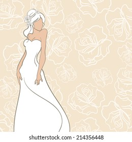 Wedding card with beautiful bride on rose background