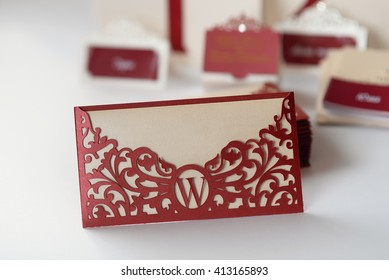 Wedding Card. Invitation in the form of the envelope with cutting and design of the liner paper.