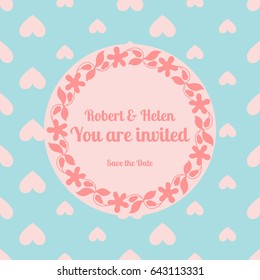 Wedding card template decorated cute pattern with floral frame. illustration