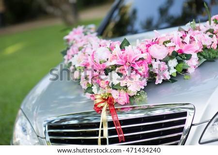 Wedding Car Wedding Decoration On Wedding Car Luxury Stock Photo