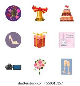 Wedding celebration icons set. Cartoon illustration of 9 wedding celebration  icons for web