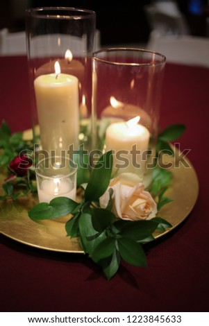 Wedding Centerpiece Candles Surrounded By Greenery Stock Photo Edit