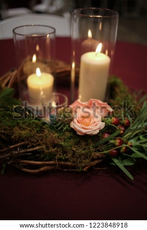 Wedding Centerpiece Candles Surrounded By Woven Stock Photo Edit