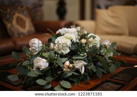 Wedding Centerpiece White Flower Arrangement Roses Stock Photo Edit