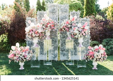 Wedding ceremony area, arch chairs decor. Outdoor wedding