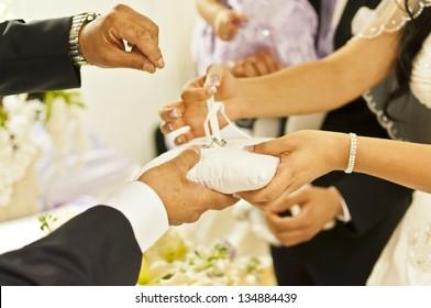 Wedding Ceremony. Bride Takes Wedding Ring