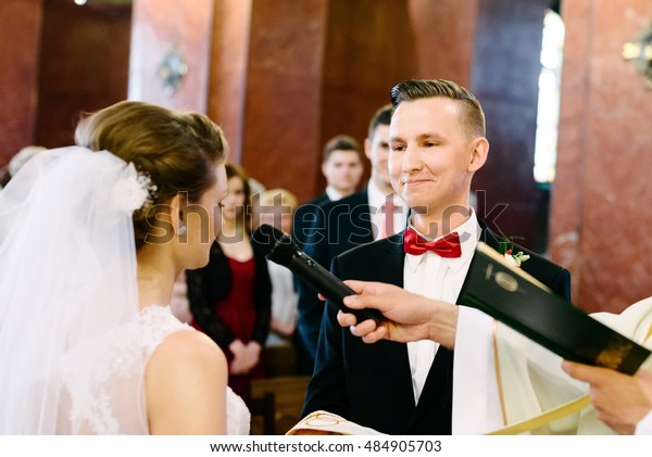 Wedding Ceremony Catholic Church Marriage Vow Stock Photo
