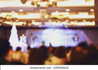 wedding ceremony celebration in hall room, image blur background