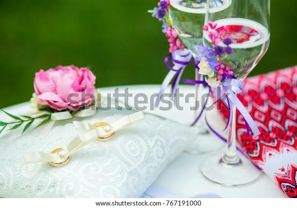 Wedding Ceremony Decor Rings Stock Photo Edit Now 767191000