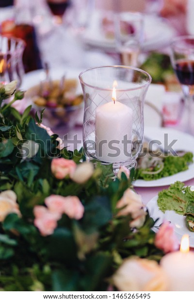 Wedding Ceremony Decoration Chairs Arches Flowers Stock Photo