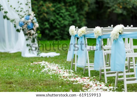 Wedding Ceremony Decorations Chairs Ribbons Chrysanthemums Stock