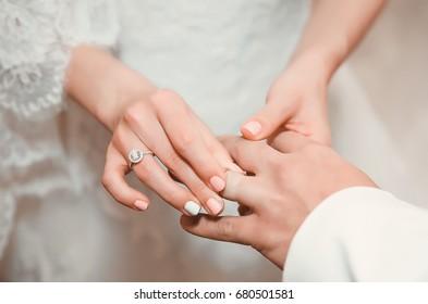 Wedding ceremony with diamond ring