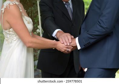 Wedding ceremony -exchange of wedding vows. Wedding and marriage concept.