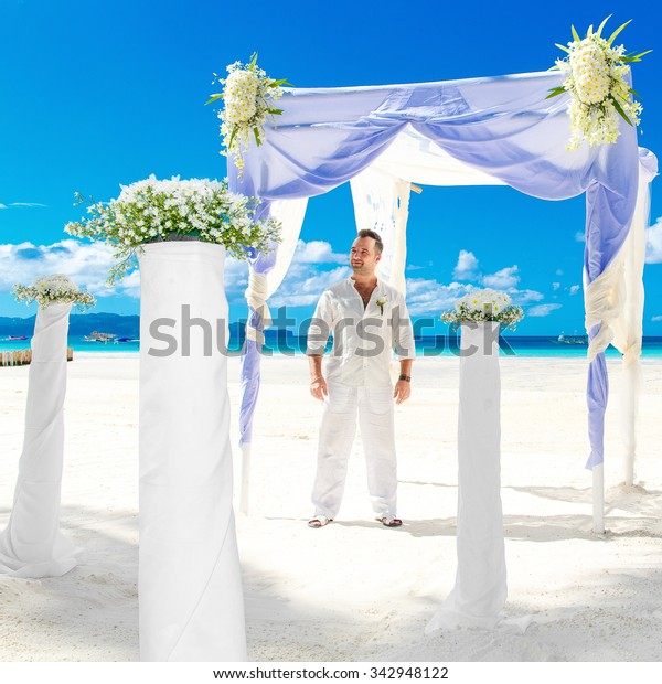 Beach Wedding Ceremony Playlist: Wedding Ceremony On Tropical Beach Blue Stock Photo (Edit