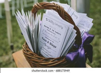 Wedding Ceremony Programs in Basket Outdoors