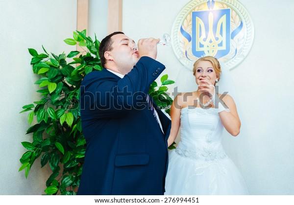 Wedding Ceremony Registry Office Newlymarried Couple Stock