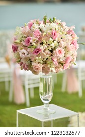 wedding ceremony setup flowers