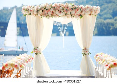 Marriage stage images stock photos vectors shutterstock wedding ceremony stage at the dniepers beach in the kiev city ukraine junglespirit Images