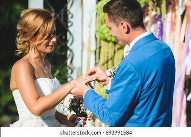 wedding ceremony at sunny day