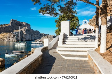Wedding ceremony - sunny day in St. Paul´s bay on Rhodes, Greece