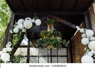 Wedding ceremony with white balloons