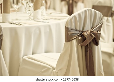 wedding chair with silk ribbon - colorized photo