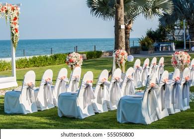 wedding chairs in outdoor wedding ceremony