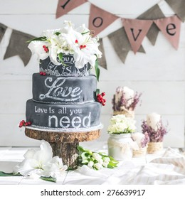 Wedding chalk cake with flowers