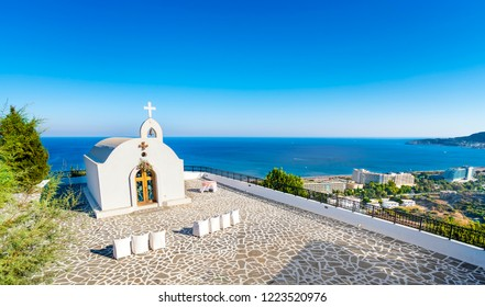 Wedding chapel with sea view on the hill near Faliraki (Rhodes, Greece)