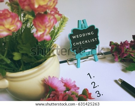 wedding checklist concept image view flowers stock photo edit now