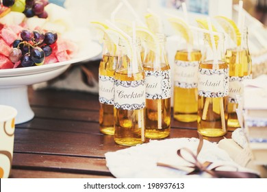 Wedding Cocktail with straws for drinking and lemon
