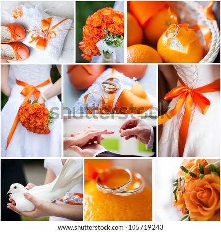 Wedding Collage Beautiful Orange Theme Stock Photo Edit Now