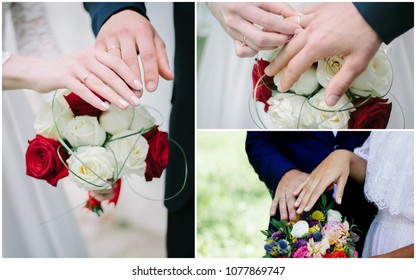 Wedding collage - hands with rings, people renewing vows.